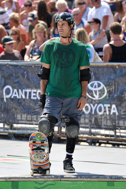 16 August, 2012:  Bob Burnquist waits to start his heat of the Skateboard Bowl Semi-final at the Pantech Beach Championships in Ocean City, MD