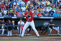 Colby Bortles #25 of the Ole Miss Rebels bats during Game 4 of the 2014 Men's College World Series between the Virginia Cavaliers and Ole Miss Rebels at TD Ameritrade Park on June 15, 2014 in Omaha, Nebraska. (Brace Hemmelgarn/Four Seam Images)