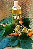 Kukui nut oil with leaves, necklace and blossoms