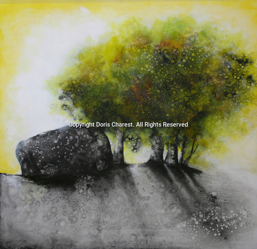 Painting of trees growing beside large boulder