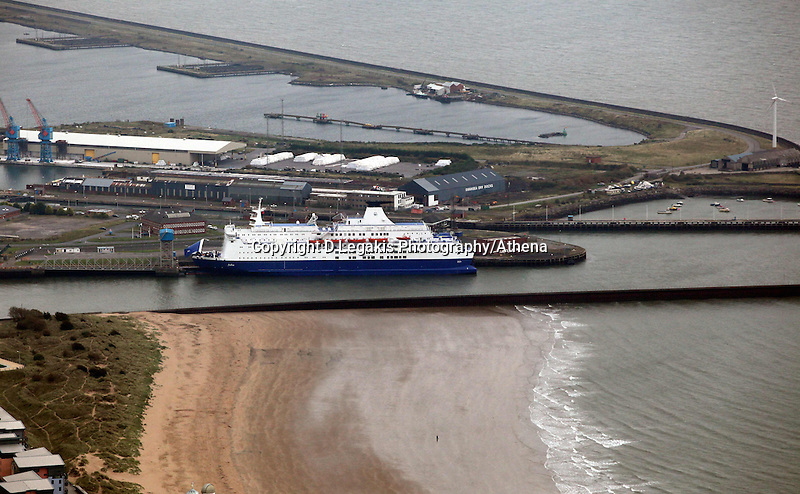 Pictured: Swansea to Cork ferry in the docks. 16 September 2011<br /> Re: Aerial photography, Swansea, south Wales.