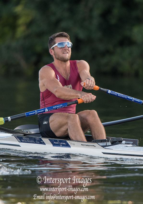 Henley-on-Thames. United Kingdom.  <br /> Diamond Challenge Sculls. NZL M1X. Matt DUNHAM, Waiariki RC.  2017 Henley Royal Regatta, Henley Reach, River Thames. <br /> <br /> 18:41:02  Saturday  01/07/2017   <br /> <br /> [Mandatory Credit. Peter SPURRIER/Intersport Images.