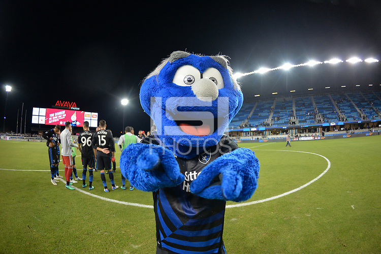 San Jose, CA - Wednesday August 29, 2018: Q, mascot during a Major League Soccer (MLS) match between the San Jose Earthquakes and FC Dallas at Avaya Stadium.