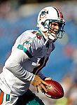 29 November 2009: Miami Dolphins' quarterback Tyler Thigpen warms up prior to a game against the Buffalo Bills at Ralph Wilson Stadium in Orchard Park, New York. The Bills defeated the Dolphins 31-14. Mandatory Credit: Ed Wolfstein Photo
