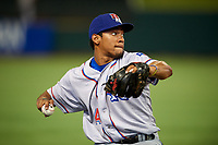 Round Rock Express third baseman Luis Marte (14) throws to first base during a game against the Memphis Redbirds on April 28, 2017 at AutoZone Park in Memphis, Tennessee.  Memphis defeated Round Rock 9-1.  (Mike Janes/Four Seam Images)
