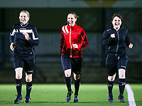 17.01.2020 OUD-HEVERLEE: First assistant referee Heidi Houtthave (left), referee Hannelore Onsea (middle) and second assistant referee Ilka Bosmans (right) warming up  before the  Belgian's Women's Super League match between Oud-Heverlee Leuven vs KAA Gent Ladies on Friday 17th January 2020, Stadion Oud-Heverlee, Oud-Heverlee, BELGIUM. PHOTO: SEVIL OKTEM SPORTPIX.BE