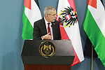 Austrian President Alexander Van der Bellen holds a press conference with Palestinian President Mahmoud Abbas (unseen) following a meeting at Abass's headquarter in the West Bank city of Ramallah on February 5, 2019. Photo by Ahmad Arouri