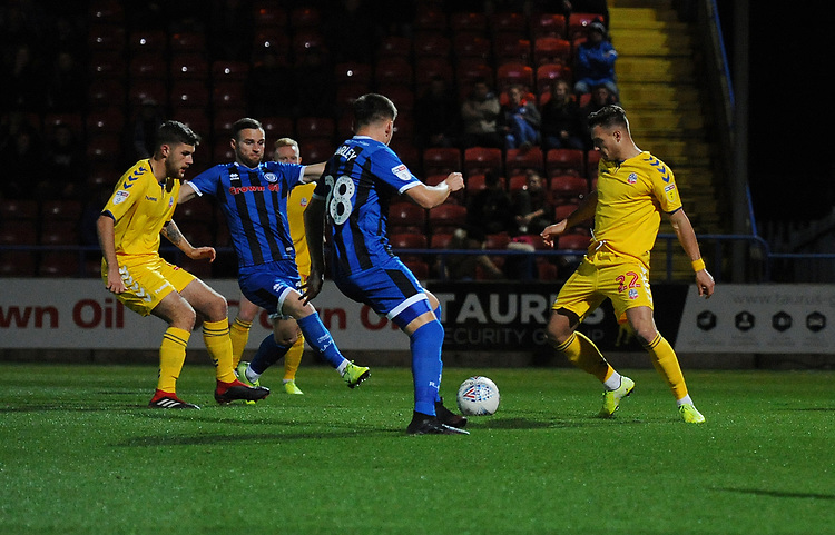 Bolton Wanderers' Dennis Politic under pressure from Rochdale's Aaron Morley<br /> <br /> Photographer Kevin Barnes/CameraSport<br /> <br /> EFL Leasing.com Trophy - Northern Section - Group F - Rochdale v Bolton Wanderers - Tuesday 1st October 2019  - University of Bolton Stadium - Bolton<br />  <br /> World Copyright © 2018 CameraSport. All rights reserved. 43 Linden Ave. Countesthorpe. Leicester. England. LE8 5PG - Tel: +44 (0) 116 277 4147 - admin@camerasport.com - www.camerasport.com