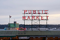 Pike Place Public Market and City Fish Market neon signs at dusk, Seattle, Washington state, USA