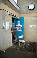 A man arrives at the Mortimer Rooms polling station during the Nailsworth Parish council elections in Gloucestershire.