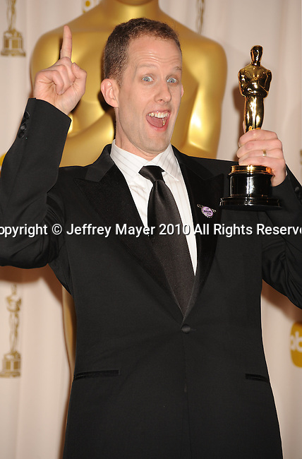 HOLLYWOOD, CA. - March 07: Director Pete Docter, winner of Best Animated Feature award for 'Up,' poses in the press room at the 82nd Annual Academy Awards held at the Kodak Theatre on March 7, 2010 in Hollywood, California.