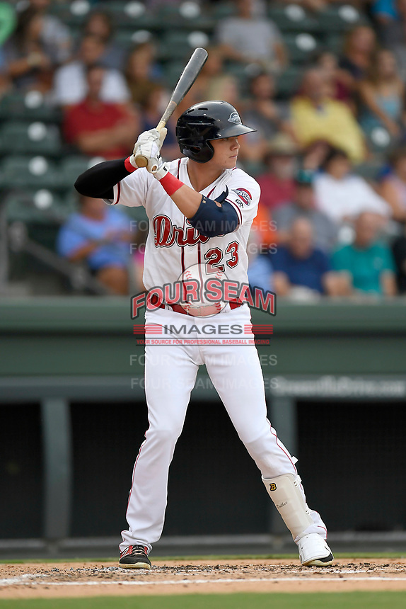 Thrd baseman Bobby Dalbec (23) of the Greenville Drive bats in a game against the Charleston RiverDogs on Thursday, July 27, 2017, at Fluor Field at the West End in Greenville, South Carolina. Charleston won, 5-2. (Tom Priddy/Four Seam Images)