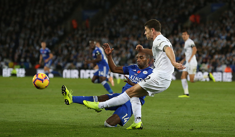 Burnley's Robbie Brady is tackled by Leicester City's Ricardo Pereira<br /> <br /> Photographer Stephen White/CameraSport<br /> <br /> The Premier League - Saturday 10th November 2018 - Leicester City v Burnley - King Power Stadium - Leicester<br /> <br /> World Copyright © 2018 CameraSport. All rights reserved. 43 Linden Ave. Countesthorpe. Leicester. England. LE8 5PG - Tel: +44 (0) 116 277 4147 - admin@camerasport.com - www.camerasport.com