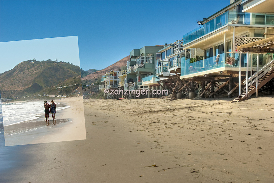 Malibu Beach, CA, Malibu Road; Homes, Colorful; Luxury; Oceanfront; Beach; Houses; Raised; Stilts; Pilings; low tide; Los Angeles; CA