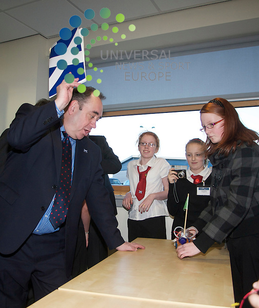 First Minister Alex Salmond opens  the Hydrogen Office in Mehil, Fife..18/01/11.. The First Minister starts a race with the Hydro car built by Pupils from Denbeath PS in Fife.First Minister Alex Salmond today performed the official opening of the Hydrogen Office in Methil, Fife...The state-of-the-art demonstration and research facility, powered by sophisticated hydrogen fuel cell technology, forms part of Fife's flagship Energy Park, and is expected to become one of Europe's leading locations for innovation and development of renewable technology. The Hydrogen Office energy system includes a 750kW wind turbine, 30kw electrolyser, 10kW hydrogen fuel fell and a geothermal source heat pump..   .At The Hydrogen Office, Methil. Fife..Picture: Mark Davison/Universal News and Sport (Scotland).18th january 2010.