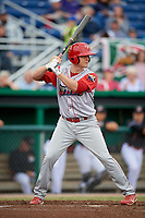 Williamsport Crosscutters left fielder Ben Pelletier (35) at bat during a game against the Batavia Muckdogs on June 22, 2018 at Dwyer Stadium in Batavia, New York.  Williamsport defeated Batavia 9-7.  (Mike Janes/Four Seam Images)