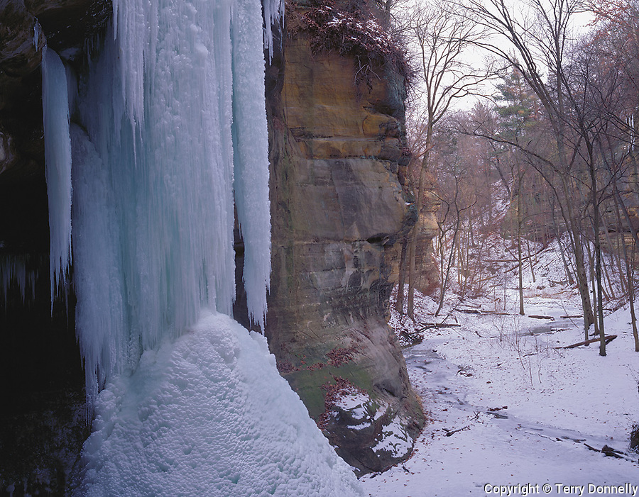 Starved Rock State Park, IL<br /> Frozen waterfall hanging from the sandstone cliffs of Tonti canyon