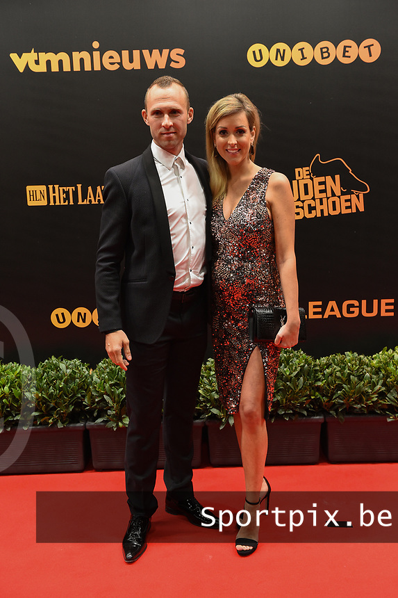 20190116 – PUURS ,  BELGIUM : Thomas Buffel (L) pictured during the  65nd men edition of the Golden Shoe award ceremony and 3th Women's edition, Wednesday 16 January 2019, in Puurs Studio 100 Pop Up Studio. The Golden Shoe (Gouden Schoen / Soulier d'Or) is an award for the best soccer player of the Belgian Jupiler Pro League championship during the year 2018. The female edition is the thirth one in Belgium.  PHOTO DIRK VUYLSTEKE | Sportpix.be