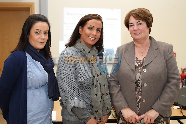 Carol Dixon and Donna Brady of Drogheda Senior Citizens with Sheila Hayes of Malahide Citizens Information Centre at the Information Morning for Senior Citizens in the Holy Family Centre, Ballsgrove..(Photo credit should read Jenny Matthews/NEWSFILE)...
