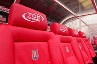 Stoke City dugout ahead of the Premier League match between Stoke City and Tottenham Hotspur at the Britannia Stadium, Stoke-on-Trent, England on 7 April 2018. Photo by Bradley Collyer / PRiME Media Images.