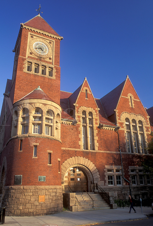 Amherst, MA, Massachusetts, Town Hall in downtown Amherst in the autumn.