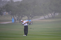 Morgan Hoffman (USA) hits his approach shot on 18 during day 3 of the Valero Texas Open, at the TPC San Antonio Oaks Course, San Antonio, Texas, USA. 4/6/2019.<br /> Picture: Golffile | Ken Murray<br /> <br /> <br /> All photo usage must carry mandatory copyright credit (&copy; Golffile | Ken Murray)