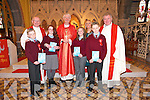 St. Ita's & St. Joseph's 5th & 6th students were confirmed by Bishop Ray Browne at ST. JOHN'S CHURCH, BALLOONAGH  on Thursday. Pictured front students Jonathan McCarthy, Lauren Walsh Hayes, Amy Murphy and Richard McCarthy. Back Fr. Patsy Lynch, Bishop Ray Browne, Grace Sheehan(Principal), Fr. Nicholas Flynn