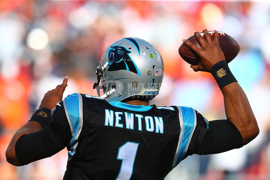 Feb 7, 2016; Santa Clara, CA, USA; Carolina Panthers quarterback Cam Newton (1) warms up before Super Bowl 50 against the Denver Broncos at Levi's Stadium. Mandatory Credit: Mark J. Rebilas-USA TODAY Sports