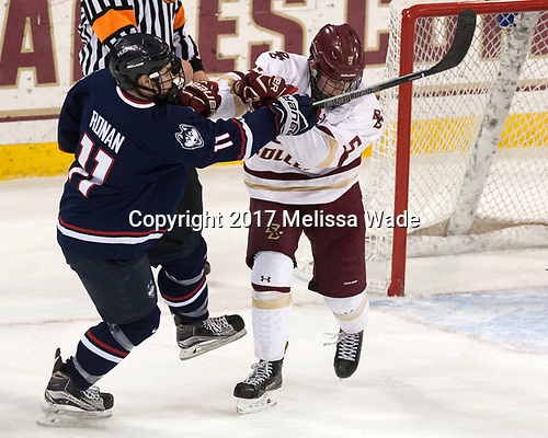 Corey Ronan (UConn - 11), Casey Fitzgerald (BC - 5) - The Boston College Eagles defeated the visiting UConn Huskies 2-1 on Tuesday, January 24, 2017, at Kelley Rink in Conte Forum in Chestnut Hill, Massachusetts.