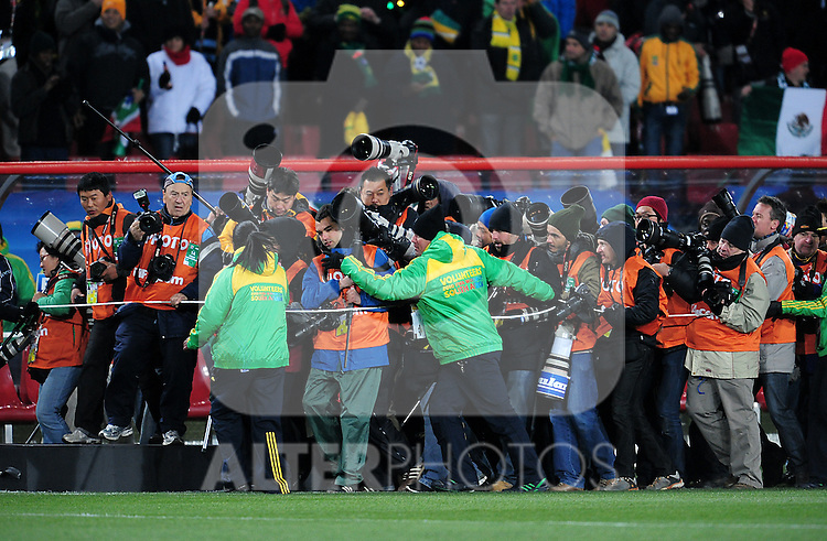 Photographers are hearded like cattle before the 2010 FIFA World Cup South Africa Group G match between Brazil and North Korea at Ellis Park Stadium on June 15, 2010 in Johannesburg, South Africa.