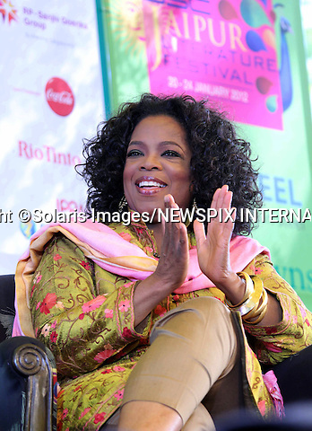 """Jaipur,India-22/01/2012: OPRAH WINFREY ATTENDS JAIPUR LITERATURE FESTIVAL 2012.American talk show hostess Oprah Winfrey wearing the traditional Indian khameez salwar attends the annual Jaipur Literature Festival..Oprah has been in India shooting her new show titled """"Next Chapter""""..Mandatory Photo Credit: ©Ramesh Nair-Solaris Images/NEWSPIX INTERNATIONAL..**ALL FEES PAYABLE TO: """"NEWSPIX INTERNATIONAL""""**..PHOTO CREDIT MANDATORY!!: NEWSPIX INTERNATIONAL(Failure to credit will incur a surcharge of 100% of reproduction fees)..IMMEDIATE CONFIRMATION OF USAGE REQUIRED:.Newspix International, 31 Chinnery Hill, Bishop's Stortford, ENGLAND CM23 3PS.Tel:+441279 324672  ; Fax: +441279656877.Mobile:  0777568 1153.e-mail: info@newspixinternational.co.uk"""