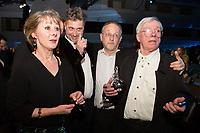 La juge Anne Gruwez et les réalisateurs Jean Libon et Yves Hinant récompensés pour le Magritte du meilleur documentaire lors de la 9ème Cérémonie des Magritte du Cinéma, qui récompense le septième art belge, au Square, à Bruxelles.<br /> Belgique, Bruxelles, 2 février 2019.<br /> Judge Anne Gruwez, directors Jean Libon and Yves Hinant celebrate their award for best documentary film pose with their award during the 9th edition of the Magritte du Cinema awards ceremony, <br /> Belgium, Brussels, 2 February 2019.