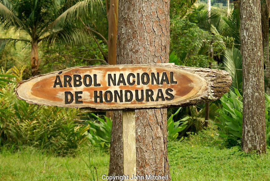 Sign at Lancetilla Botanical Garden, Honduras. Lancetilla Garden was established by American botanist William Popenoe in 1926.