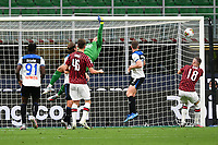 Hakan Calhanoglu of AC Milan scores the goal of 1-0 during the Serie A football match between AC Milan and Atalanta BC at stadio Giuseppe Meazza in Milano ( Italy ), July 24th, 2020. Play resumes behind closed doors following the outbreak of the coronavirus disease. <br /> Photo Image Sport / Insidefoto