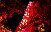 Miami's South Beach basks in Neon light at night.
