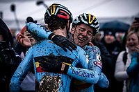 an emotional Thibau Nys (BEL) congratulated by Lennart Belmans (BEL) post-finish<br /> <br /> Men's Junior race<br /> UCI 2020 Cyclocross World Championships<br /> Dübendorf / Switzerland<br /> <br /> ©kramon