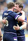 17th March 2018, Stadio Olimpico, Rome, Italy; NatWest Six Nations rugby, Italy versus Scotland; Stuart Hogg of Scotland celebrates with Pete Horne after scoring a try