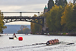 Rowing, Head of the Lake Regatta, November 2 2014, Seattle, University of Portland crew, Women's 3JV 8+, Washington State, Lake Washington Rowing Club, Lake Washington Ship Canal, Montlake Cut,