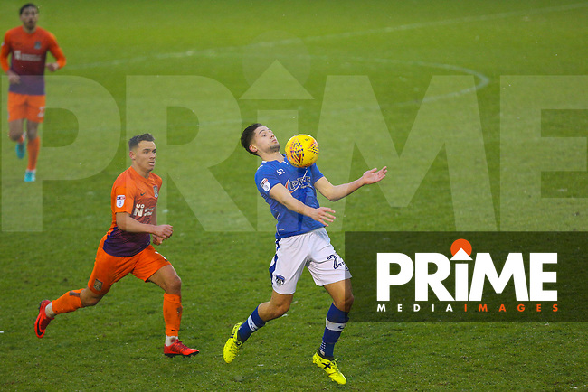 Oldham Athletic's Rob Hunt (R) during the Sky Bet League 1 match between Oldham Athletic and Northampton Town at Boundary Park, Oldham, England on 9 December 2017. Photo by Juel Miah / PRiME Media Images.