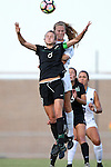 21 August 2016: Charlotte's Martha Thomas (8) and North Carolina's Annie Kingman (behind) challenge for a header. The University of North Carolina Tar Heels hosted the University of North Carolina Charlotte 49ers in a 2016 NCAA Division I Women's Soccer match. UNC won the game 3-0