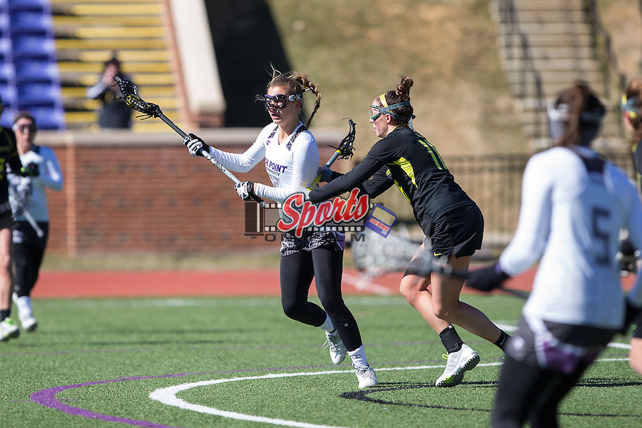 Leah Pace (27) of the High Point Panthers during first half action against the Oregon Ducks at Vert Track, Soccer & Lacrosse Stadium on February 15, 2015 in High Point, North Carolina.  The Ducks defeated the Panthers 9-8.   (Brian Westerholt/Sports On Film)