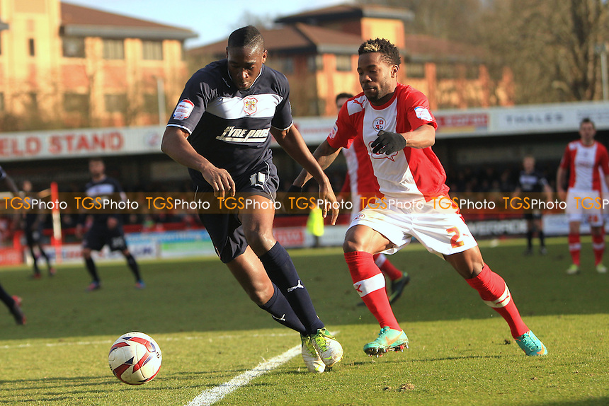 Lucas Akins of Stevenage pushes past Mustapha Dumbuya of Crawley Town - Crawley Town vs Stevenage - NPower League One Football at the Broadfield Stadium, Crawley, West Sussex - 29/03/13 - MANDATORY CREDIT: Simon Roe/TGSPHOTO - Self billing applies where appropriate - 0845 094 6026 - contact@tgsphoto.co.uk - NO UNPAID USE