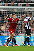 1st October 2017, St James Park, Newcastle upon Tyne, England; EPL Premier League football, Newcastle United versus Liverpool; Philippe Coutinho puts his fingers to the sky after he made it 0-1 in the 29th minute