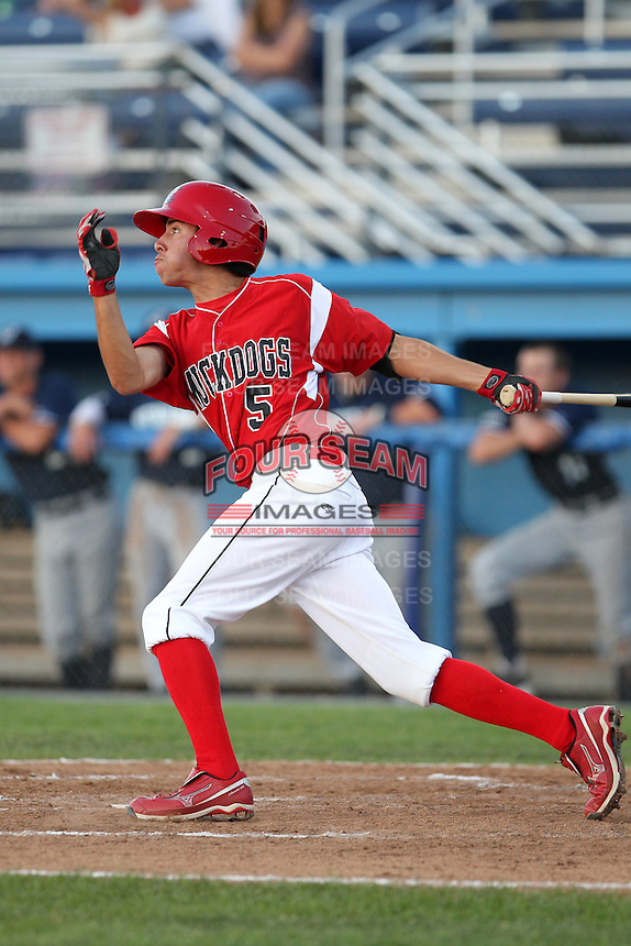 Batavia Muckdogs outfielder Steve Ramos #5 at bat during an exhibition game against the Newark Pilots of the Perfect Game Collegiate Baseball Lague at Dwyer Stadium on June 15, 2012 in Batavia, New York.  Batavia defeated Newark 8-0.  (Mike Janes/Four Seam Images)