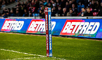 Picture by Allan McKenzie/SWpix.com - 26/04/2018 - Rugby League - Betfred Super League - Salford Red Devils v St Helens - AJ Bell Stadium, Salford, England - Betfred, corner post, branding.