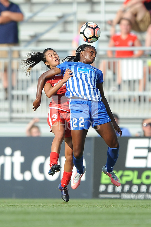 Boyds, MD - Saturday August 12, 2017: Caprice Dydasco, Ifeoma Onumonu during a regular season National Women's Soccer League (NWSL) match between the Washington Spirit and the Boston Breakers at Maureen Hendricks Field, Maryland SoccerPlex.