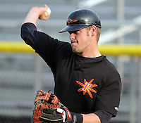 June 20, 2008: Catcher Matt Wieters (32) of the Frederick Keys, Carolina League affiliate of the Baltimore orioles, prior to a game against the Potomac Nationals at G. Richard Pfitzner Stadium in Woodbridge, Va. Photo by:  Tom Priddy/Four Seam Images