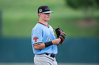 Hickory Crawdads third baseman Blaine Prescott (25) on defense against the Kannapolis Intimidators in game one of a double-header at Kannapolis Intimidators Stadium on May 19, 2017 in Kannapolis, North Carolina.  The Crawdads defeated the Intimidators 5-4.  (Brian Westerholt/Four Seam Images)