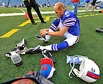 21 September 2008:  Buffalo Bills' punter Brian Moorman ties his laces prior to a game against the Oakland Raiders at Ralph Wilson Stadium in Orchard Park, NY. The Bills defeated the Raiders 24-23 to mark their first 3-0 start of the season since 1992...Mandatory Photo Credit: Ed Wolfstein Photo