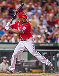 22 August 2015: Washington Nationals outfielder Michael Taylor at bat against the Milwaukee Brewers at Nationals Park in Washington, DC. The Nationals defeated the Brewers 6-1 in the second game of their 3-game weekend series. Mandatory Credit: Ed Wolfstein Photo *** RAW (NEF) Image File Available ***